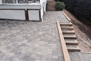 Patio surfaced with paving stone